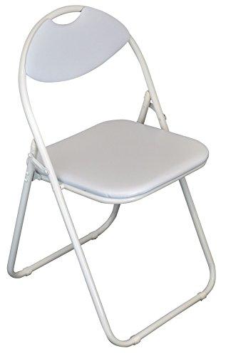 Chaise de bureau rembourrée blanche et pliable de Harbour Housewares / Armature blanche - Boîte de 1