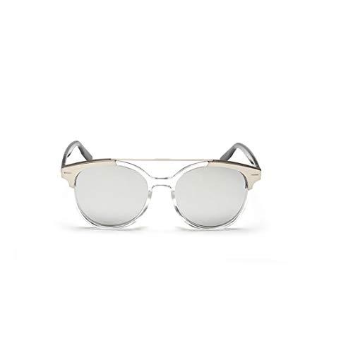 Yiph-Sunglass Sonnenbrillen Mode Steampunk Retro Round Sonnenbrille UV-Schutz farbige Linse Unisex-Sonnenbrille (Farbe : Transparent Frame Mercury Film)