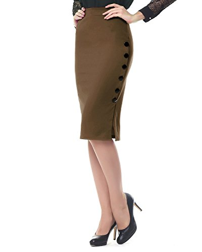 Kenancy Damen Knielang Bleistift Rock Hohe Taille Eng Jerseyrock Große Größen für Business Arbeit Rock-Khaki-2XL