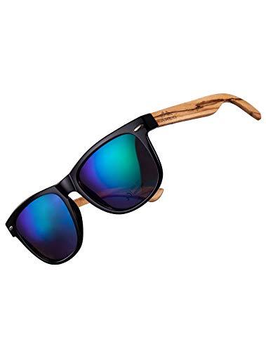 Amexi Polarisierte Sonnenbrille für Herren und Damen UV with Matte Black Front and Sport Verspiegelte Sonnenbrille Damen Polarised Lenses Blue (blue) (blue) (blue)