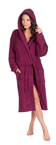 Ladies Dressing Gown Hooded Terry Towelling Spa Hotel Shawl Collar 100% Cotton Robe With Insignia Lounge Socks - 31w4sf3YdmL - Ladies Dressing Gown Hooded Terry Towelling Spa Hotel Shawl Collar 100% Cotton Robe With Insignia Lounge Socks