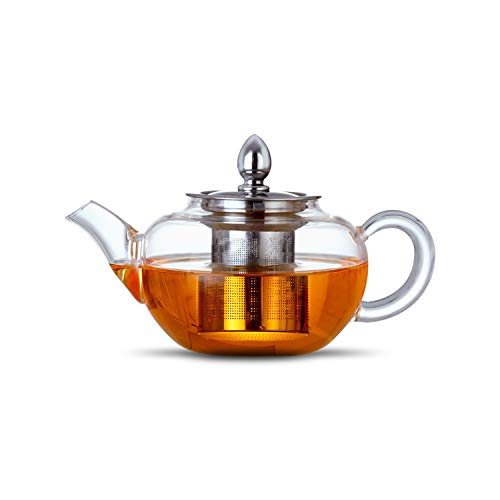 Glass Teapot Infuser 300 ml Borosilicate 304 Stainless Steel Lid, Clear Teapot and Loose Leaf Teapot Infuser.