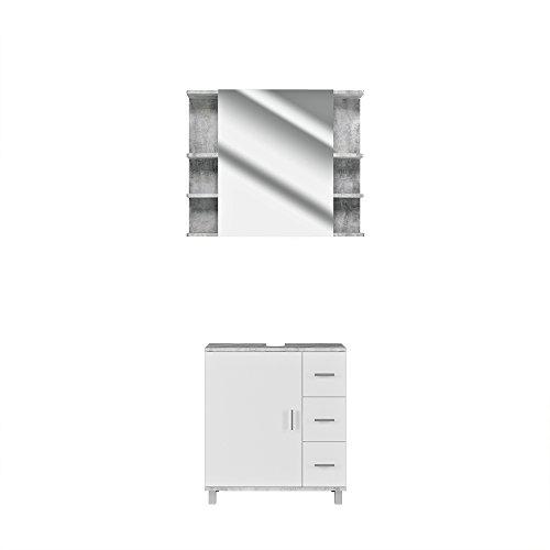 VICCO Badmöbel Set Badezimmermöbel ILIAS Weiß Beton Spiegel + Waschtischunterschrank