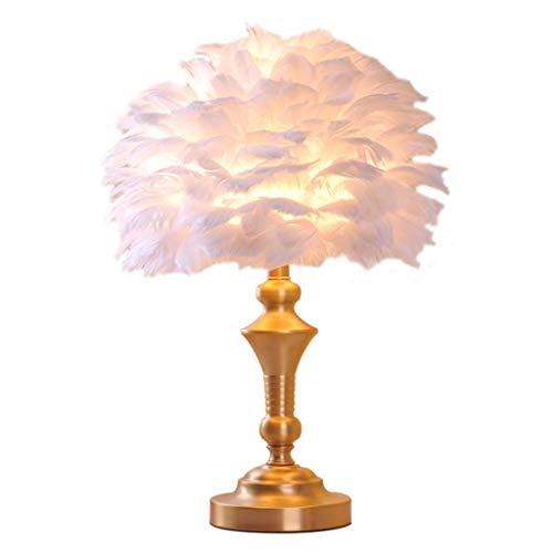 Kupfer-feder Tischlampe (Td Federn Sie Europäischen Stil Kupfer Tischlampe, Schlafzimmer Nachttischlampe Modernen Minimalistischen Hause Romantische Kreative Hochzeit Zimmer Warmes Licht Warm (Farbe : Push Button Switch))