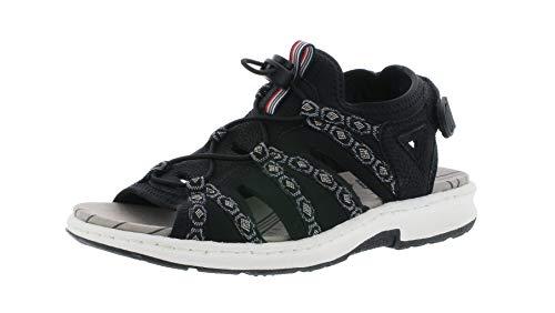 Rieker 67770 Damen Trekking Sandalen,Outdoor-Sandale,Sport-Sandale,Sommerschuh,schwarz/schwarz-grau/00,40 EU / 6.5 UK