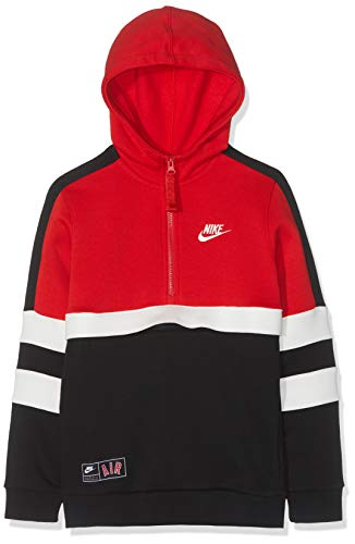 Nike Kinder Full Zip NSW Air Hoodie, University Red/Black/Sail, XS Full Zip Hoodie T-shirt