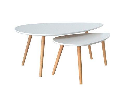 Mobilier Deco Table Basse gigognes scandinave Karen Blanc