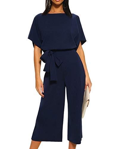 Woweal Jumpsuits Damen Kurze Ärmel Casual Playsuit Fashion Rundhals Overall Pants 3/4 Weite Bein Hosen Rompers (Dunkelblau, L) -