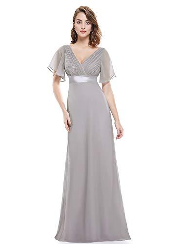 Ever-pretty abito da donna lungo in chiffon con scollo a v doppio grigio 44eu