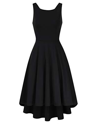 Clearlove Damen Abendkleid Ärmellos Cocktailkleid Neckholder Brautjungfernkleid Elegant Asymmetrisches Partykleid, Schwarz1, XL