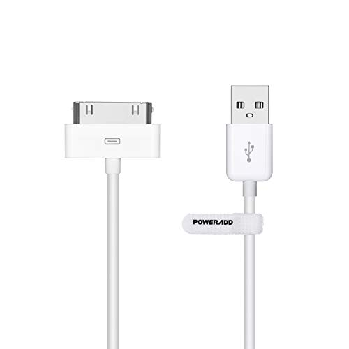 Poweradd PO412W 30 Pin iPhone Charger USB Sync Data Cable, White 4 Feet(1.2M)