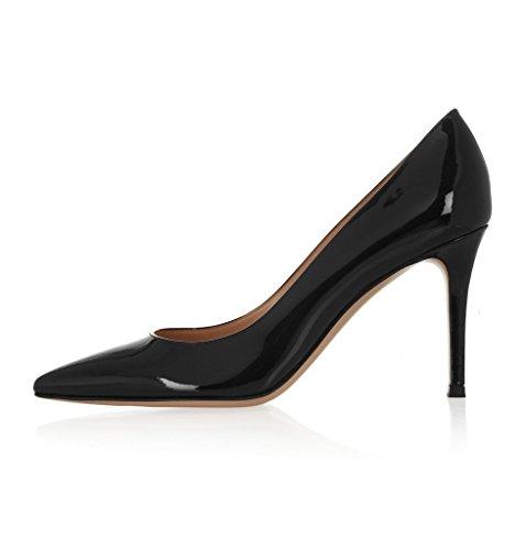 EDEFS Damen High Heels Klassische Pumps Geschlossene Spitze Zehen Übergröße Schuhe 8cm Absatz Schwarz Größe EU37