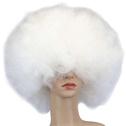 TinkSky Clown Parrucca Costume Wig Afro Parrucca Halloween Carnevale Parrucca per adulti (bianco)