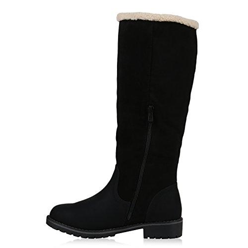 Stiefelparadies Warm Gefütterte Stiefel Damen Winterstiefel Wildleder-Optik Boots Schnallen Profilsohle Winter Schuhe Flandell Schwarz Schwarz Avion