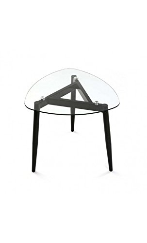VERSA - Table basse verre 3 pieds métal noir Versa Cristal