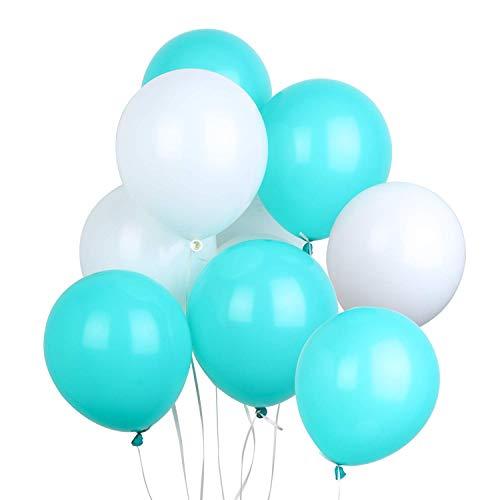 PuTwo Luftballons Türkis Weiß, 100 Stück 12 Zoll Luftballons Matt Satz von Luftballon Türkis und Luftballons Weiß, Latexballons für Baby Shower Junge, Taufdeko Junge, Deko Geburtstag, Türkis Hochzeit (Weiß Und Türkis)