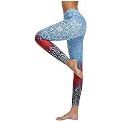 MrTom Mallas Pantalones Deportivos Largos para Mujer Estampados Boho Leggings Yoga Running Fitness Deporte Leggins Damas Vestir Cintura Alta Push Up Polainas de Gimnasio Elásticos
