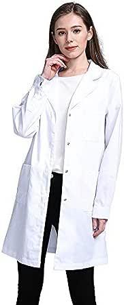 Icertag Blouse de Laboratoire, Blouse de médecin, Blouse de médecin pour Femme, Blouse Blanche pour Femme, Adaptée aux étudiants, Laboratoire Scientifique, Infirmière, Cosplay