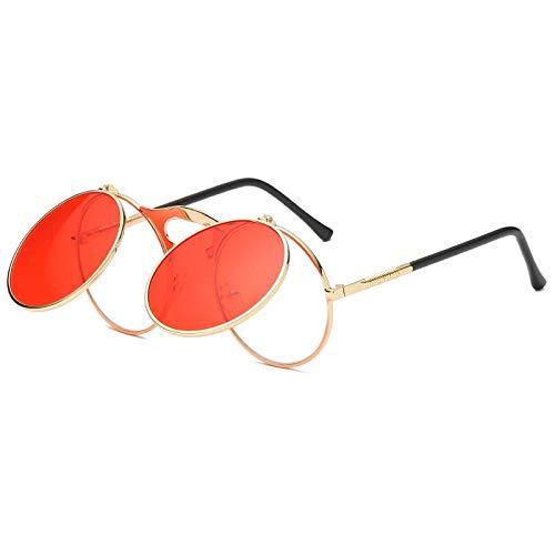 YUHANGH Männer Frauen Sonnenbrillen Großen Rahmen Vintage Steampunk Runde Übergroßen Retro Brille Metallrahmen