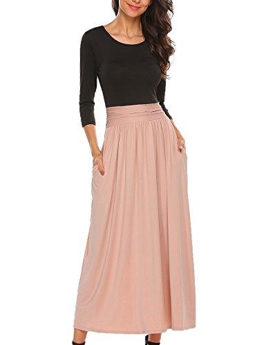 Meaneor Damen Elegant Maxikleid Abendkleid Cocktailkleid Kontrast Kleid 3/4 Arm Jersey Bodenlang...