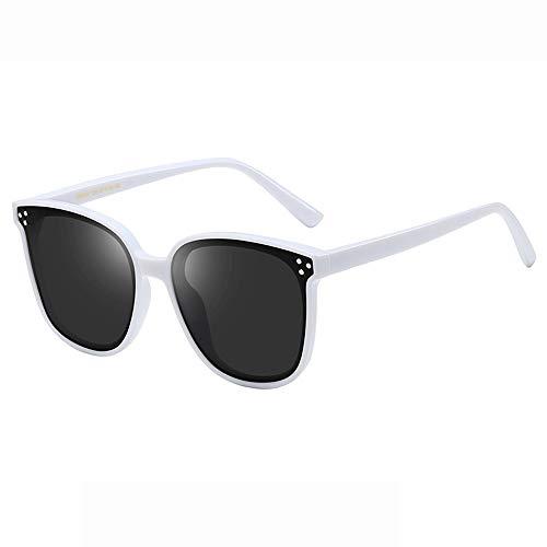 Yiph-Sunglass Sonnenbrillen Mode Runde, runde Retro-Sonnenbrille mit UV-Schutz für Männer und Frauen (Farbe : Weiß, Größe : Casual Size)