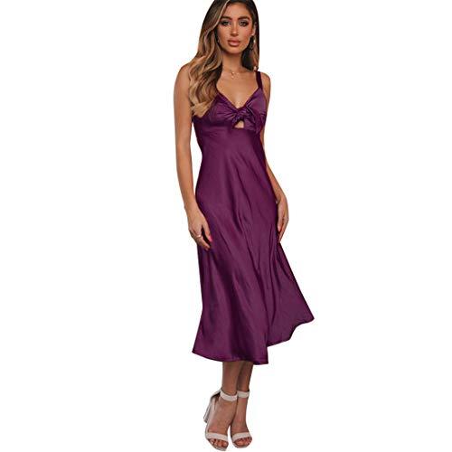 Trocknen Rack-einheit (SWESEYDRE Schnüren Sie Sich Oben Verband-Midi-Kleid-Isolationsschlauchbügel-Bogen höhlen heraus V Ansatz-Kleid Outwear breites Rand-Kleid Vestidos Robe aus Purple Dress XL)
