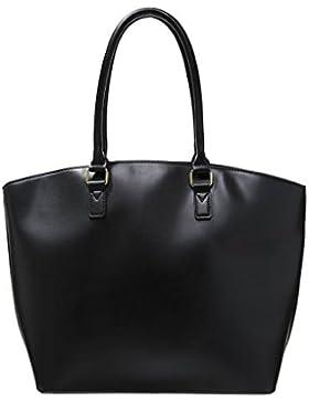 Even&Odd Shopper Bag - Handtasche Damen in Schwarz, Rot, Blau o. Cognac-Braun - Tasche aus Kunstleder mit Reißverschluss...