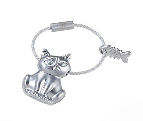 TROIKA Bad CAT - KR17-15/MA - Schlüsselanhänger - Katze mit Fischgräte - für alle, die schlechte Laune mögen - Metallguss- matt - verchromt - Silber - TROIKA-Original