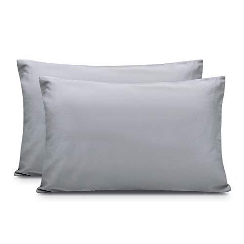 Zenssia langstapelige Baumwolle Kissenbezug Kissenbezüge hochwertige Kissenhüllen 2er-Pack mit Reißverschluss, Grau, 40x60cm -