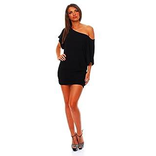 ALB Damen Shirt Bluse Sommer Sommershirt Carmenbluse Longshirt Tunika Bluse Pullover T-Shirt Tank Top Minikleid Schwarz M