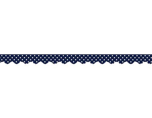 Teacher Created Ressourcen 5432Navy Polka Dots Scalloped Border Trim -