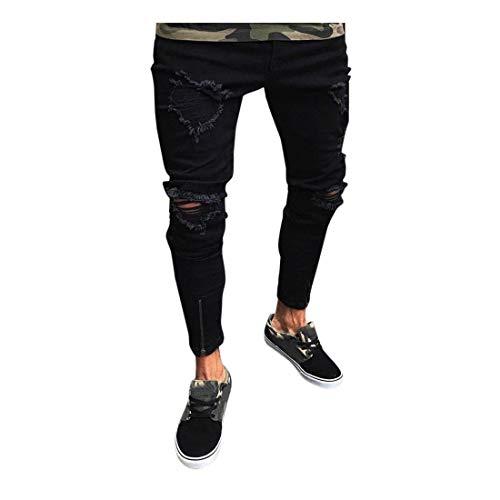 Herren Jeans FORH Männer Vintage Skinny Jeans Bequem Tunnelzug Denim Pants Slim Fit Jogginghosen Trainingshose Fitnesshose Freizeit Sweatpants (Schwarz, M) -
