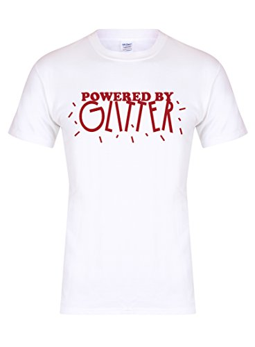 Powered by Glitter - Unisex Fit T-Shirt - Fun Slogan Tee (X Large - Chest 46-48 inches, White/Red)