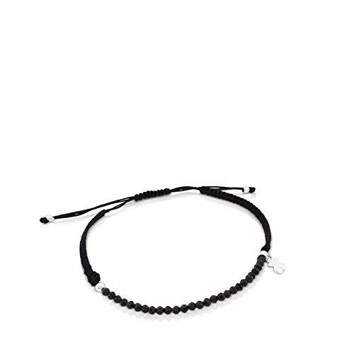 Pulsera TOUS Color de espinelas y plata de primera ley con cordón negro.