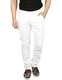 Nimegh White Colored Cotton Casual Solid Trouser For Men's