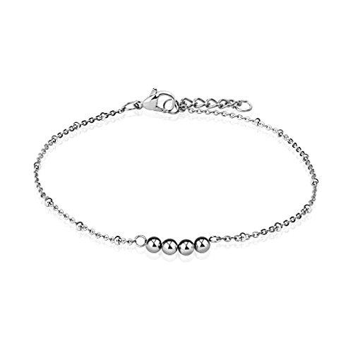 bungsa® Braccialetto 4Beads in acciaio inox argento per donna piede catena (acciaio inox, cinturino bracciale donna acciaio chirurgico signor Bracciale gioielli)