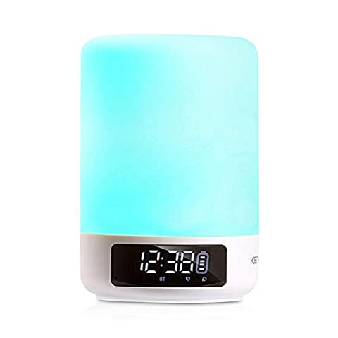 Keynice Touch Control Table Lamp with Bluetooth Speaker LED Light Bedside Lamp Desk Lamps with Alarm Clock, TF Card Slot, Hands-free & Timing Function for Home/Travelling- White …