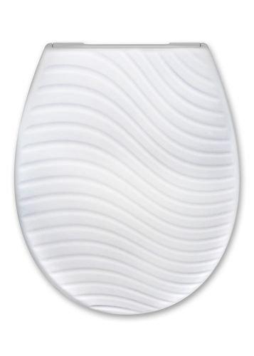 Cedo WC Sitz Bondi Beach 3D mit Wellen Relief mit Absenkautomatik Softclose Classic, Abnehmbar mit Takeoff Original Abnahmefunktion; aus Duroplast für ovale Keramiken mit
