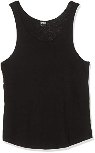 Urban Classics TB964 Herren Sport Top Long Shaped Open Edge Loose Tank Schwarz (Black 7), Small