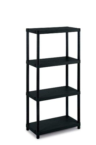 Kunststoffregal für Haushalt, Büro, Werkstatt und Garage. Aus robustem Kunststoff. 25kg Traglast...