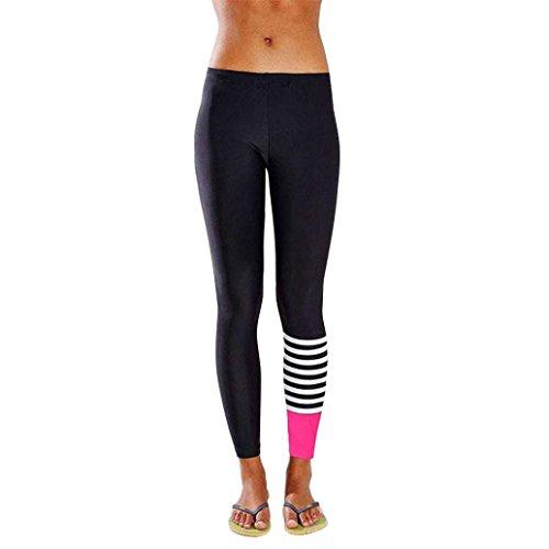 HARRYSTORE Mujer Pantalones elásticos de yoga Señora costura y rayas