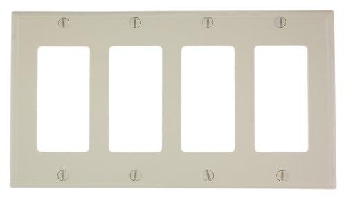 Leviton 80412-NT 4-Gang Decora/GFCI Device Decora Wallplate, Standard Size, Thermoplastic Nylon, Device Mount, Light Almond by Leviton