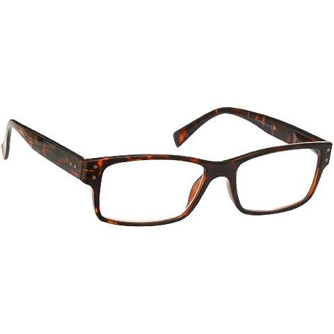 UV Reader Marrone Tartaruga Occhiali da Lettura Stile Wayfarer Uomo Donna Astuccio Compreso UVR012 Diottria +3,00