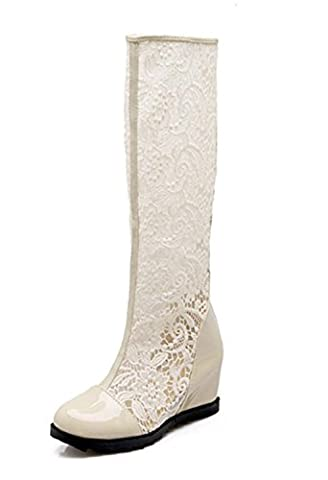 SZXC Ladies Womens Lace Over Knee Cuisse High Heel Stretch Faux Leather Hollow Cool Bottes Bottes Chaussures , 41 , meters white