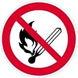 Aufkleber Feuer, offenes Licht und Rauchen verboten gemäß DIN 7010, Folie selbstklebend 20 cm (Verbotsschild, Brandgefahr)