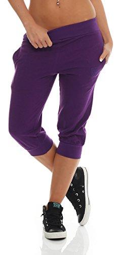 Gennadi Hoppe Damen 3/4 Trainingshose Sporthose kurze Hose Sport Fitness Jogginghose Shorts Barmuda, lila,S