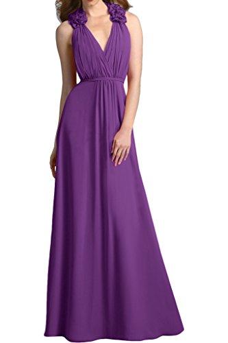 Sunvary Traumhaft V-Neck Blumen Chiffon Abendkleid Bodenlang Falte Partykleid Festkleider Violett