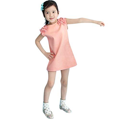 YWLINK Kleinkind MäDchen Elegant Volltonfarbe ÄRmellos A-Line 3D Blume Kleid Hochzeit Prinzessin Party Kleid Sommerkleid(Rosa,18-24 Monate)