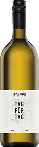 Tag für Tag Bacchus halbtrocken 1,0 l 2018 - Frankhof Weinkontor   halbtrockener Weißwein   deutscher Sommerwein aus der Pfalz   1 x 1,00 Liter
