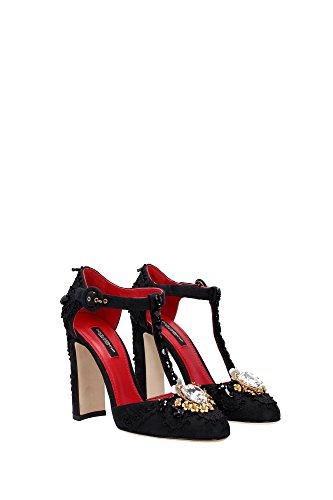 C19406A657880999 Dolce&Gabbana Sandale Femme Tissu Noir Noir